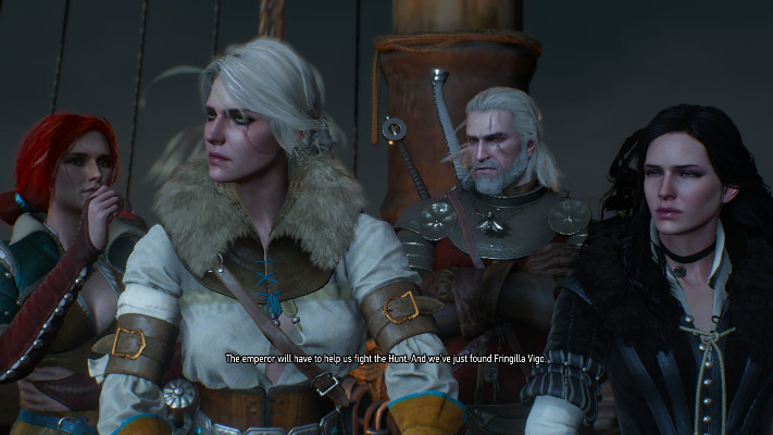 Triss, Ciri, Geralt, and Yen. All not smiling.